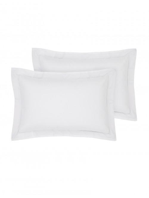 Luxury Percale 200 Thread Count Oxford Pillowcase Pair White