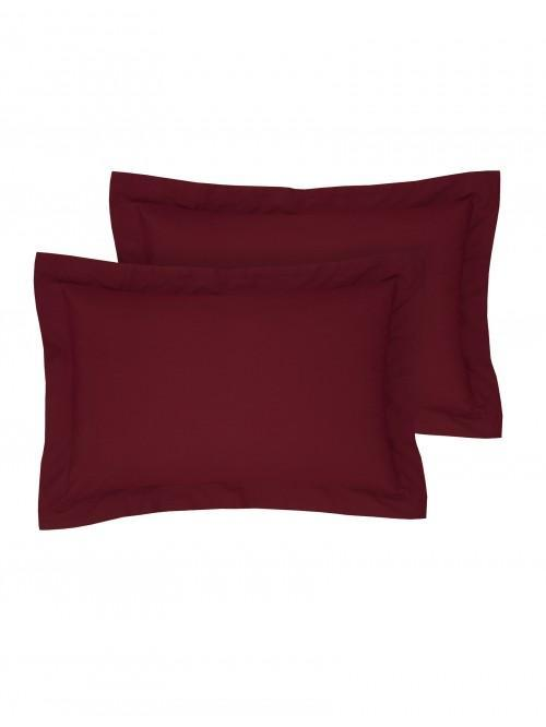 Luxury Percale 200 Thread Count Oxford Pillowcase Pair Wine