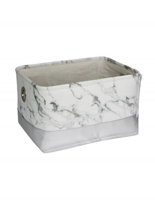Marble Effect Storage Tray Lrg White