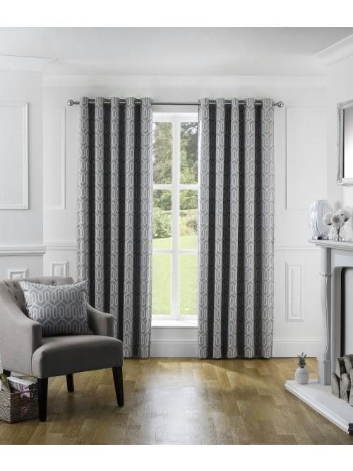 Mason Thermal Blackout Eyelet Curtains Grey