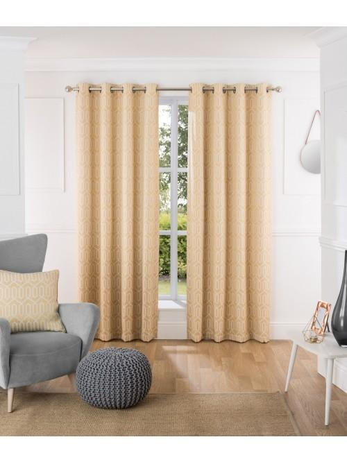 Mason Thermal Blackout Eyelet Curtains Ochre