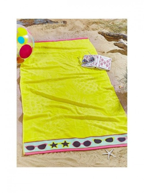 Catherine Lansfield Pineapple Beach Towel Yellow