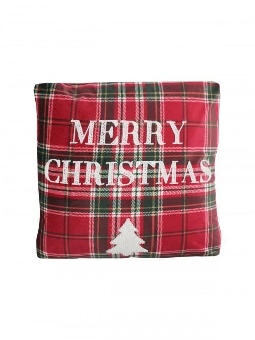 Merry Christmas Text Cushion Red