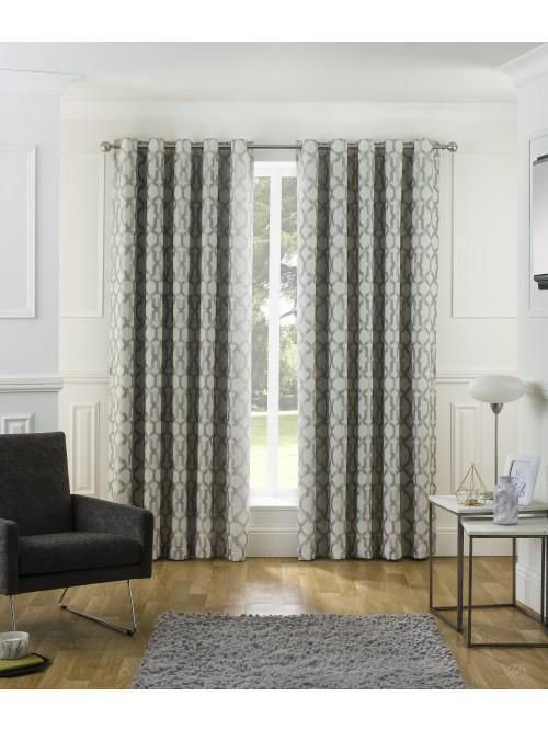 Mirage Jacquard Eyelet Curtains Grey