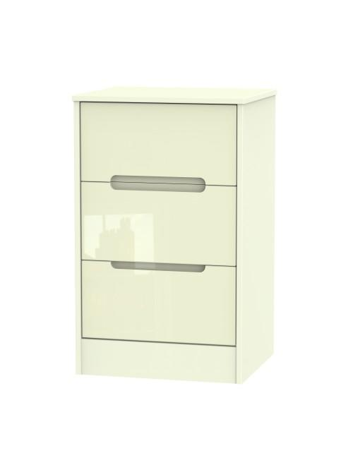 Austin 3 Drawer Bedside Cabinet Cream Gloss