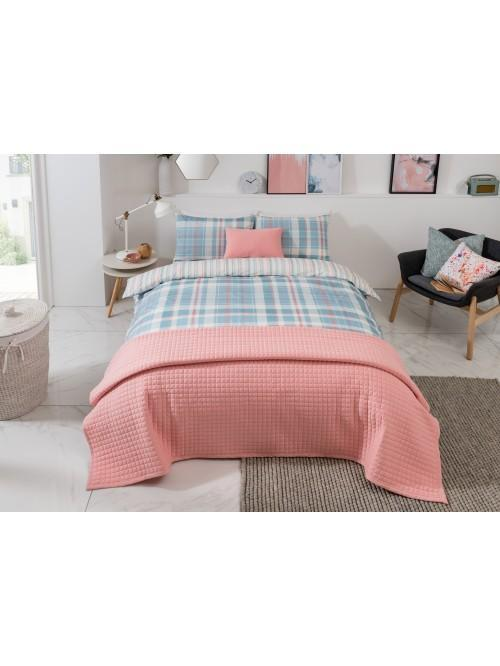Mystical Check Printed Duvet Set Coral