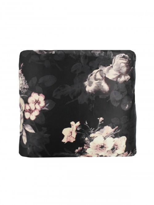 Noir Floral Cushion Black