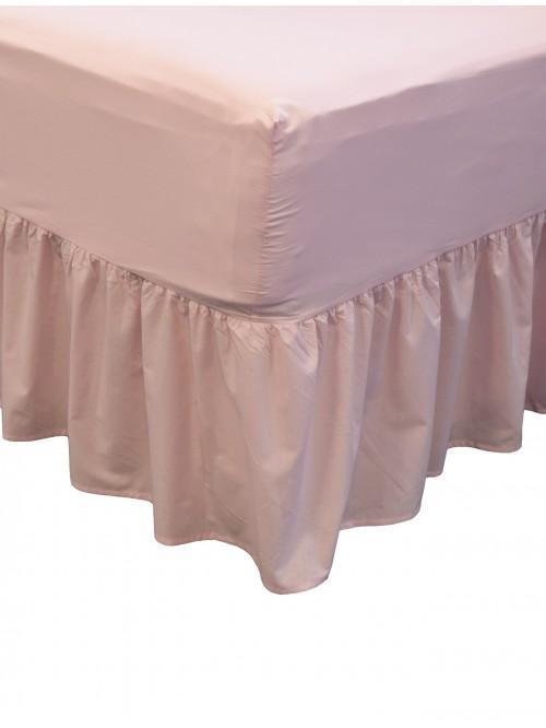Non Iron Fitted Frilled Valance Sheet Pink