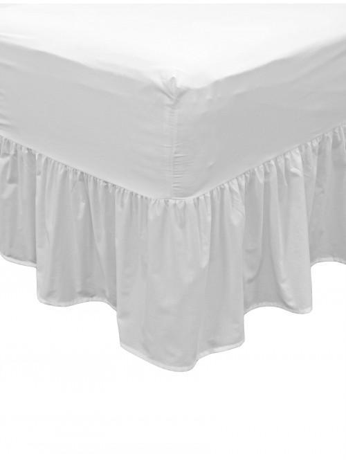 Non Iron Fitted Frilled Valance Sheet White