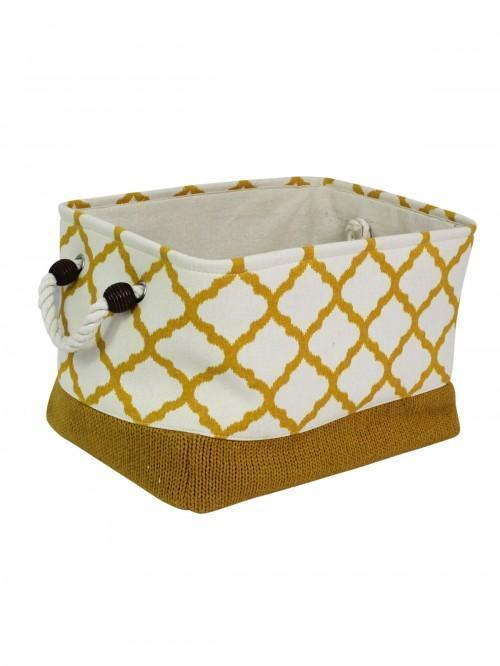 Ochre Fabric Geo Storage Tray Med