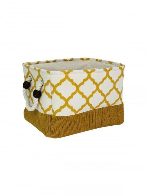 Ochre Fabric Geo Storage Tray Sml