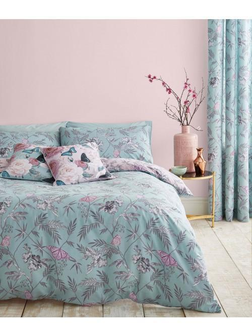 Catherine Lansfield Oriental Butterfly Bedding Collection Duck Egg