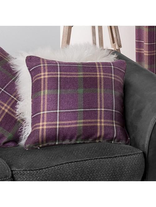 Orkney Brushed Check Curtain Cushions Plum