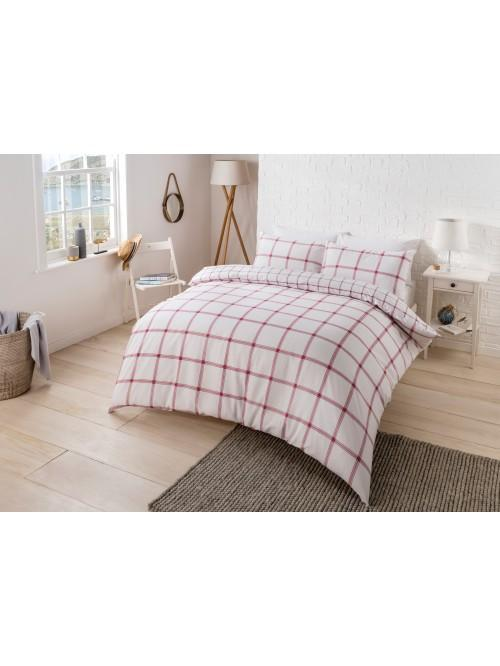 Padstow Red Check 100% Cotton Printed Duvet Set Red