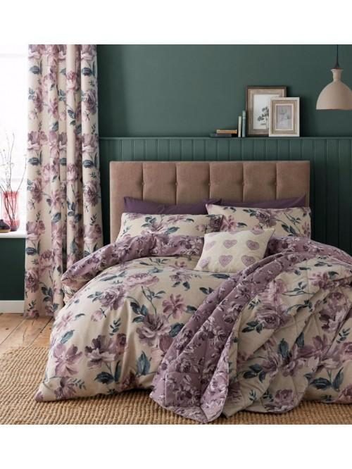 Catherine Lansfield Painted Floral Bedding Collection Plum
