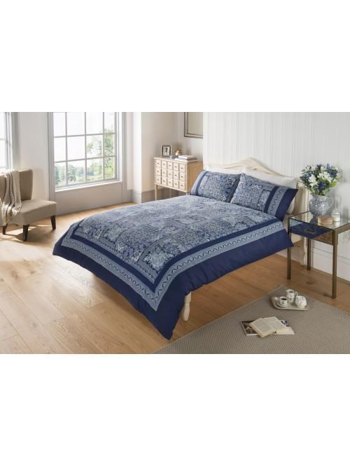 Paisley Patchwork Duvet Set Blue