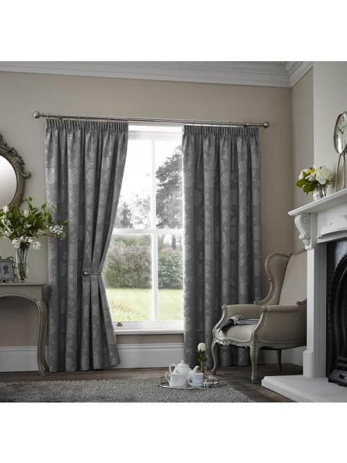Curtina Palmero Scroll Pencil Pleat Curtains Silver