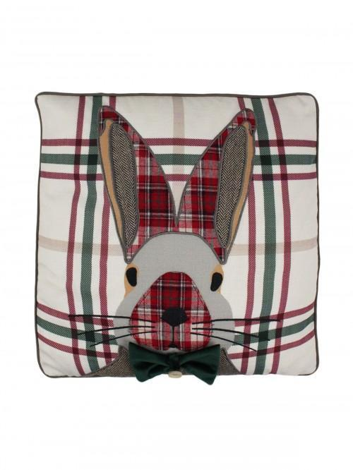 Patchwork Rabbit Cushion Red