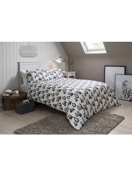 Penguin Flannelette Duvet Set White