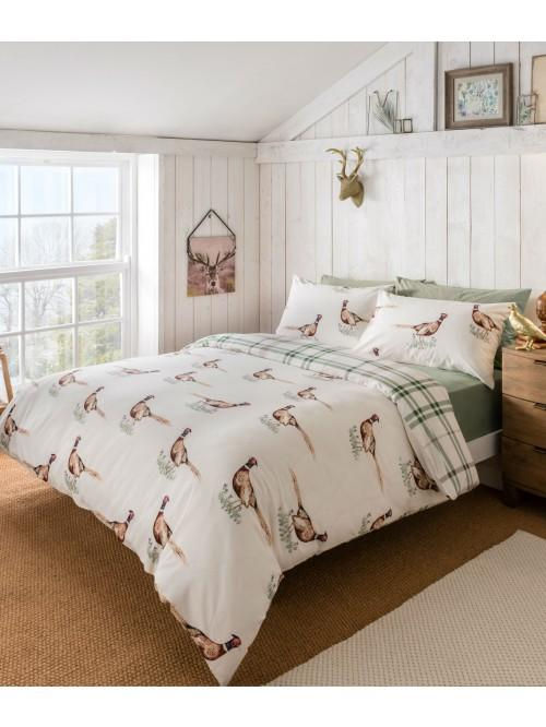 Pheasant 100% Cotton Reversible Duvet Set Natural