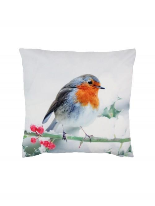 Photographic Robin Cushion Red