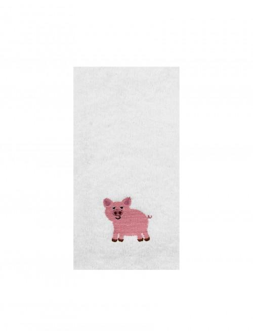 Embroidered Pig Hand Towel