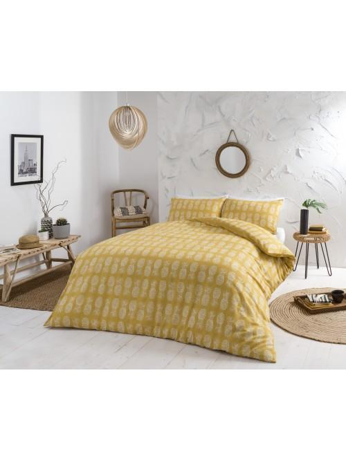 Pineapple Printed Duvet Set Ochre