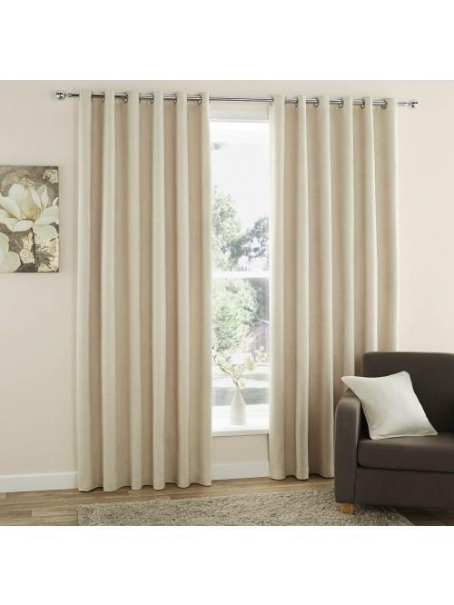 Curtina Plain Suede Eyelet Curtains Cream