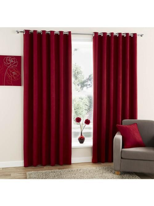 Curtina Plain Suede Eyelet Curtains Red