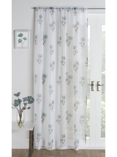 Poppy Bloom Voile Panel Duck Egg