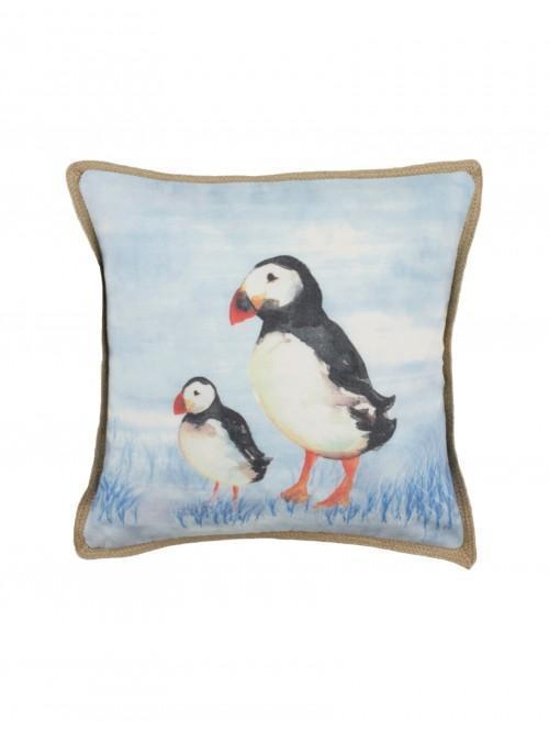 Puffin Family Cushion Blue