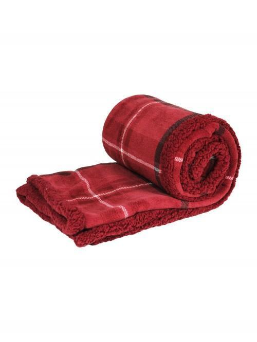 Check Printed Sherpa Throw Red