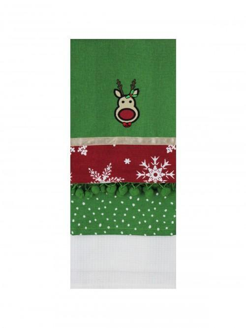 Tea Towel Set 3 Embellished Rudolph