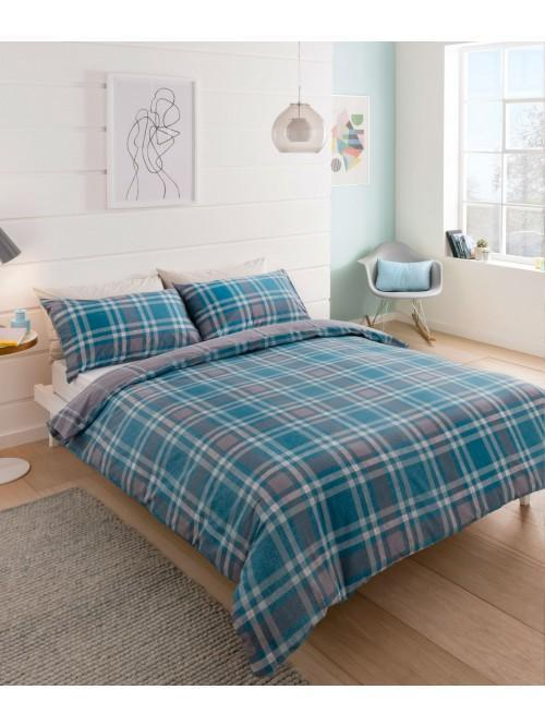 Retro Check 100% Cotton Duvet Set Blue