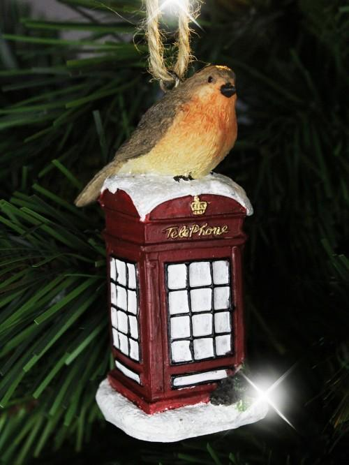 Robin On A Post Box / Telephone Box Tree Decoration