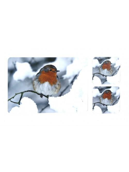 Snow Robin Place Mat And Coaster Set of 4