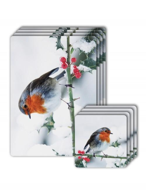 Robin Photographic Placemat & Coaster Set Natural