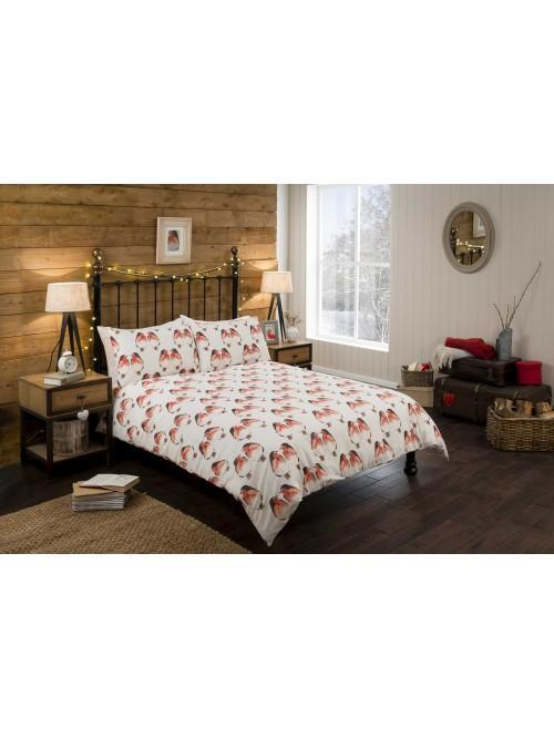 Robin Print Duvet Set Red