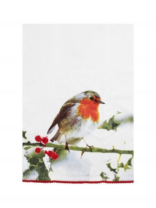Robin Photographic Teatowel Red