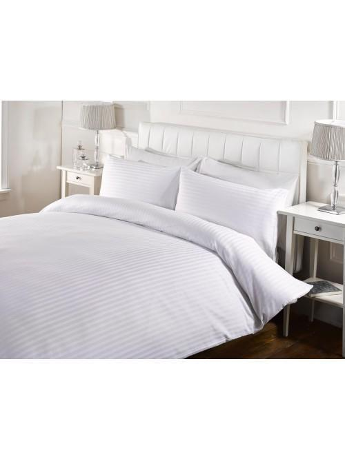 Hotel Satin Stripe Duvet Set White