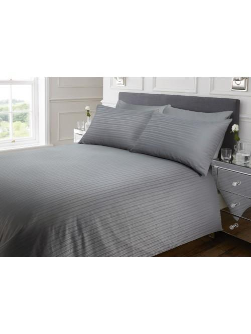 Hotel Satin Stripe Duvet Set Grey
