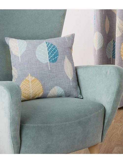 Scandi Leaf Curtain Cushion Teal