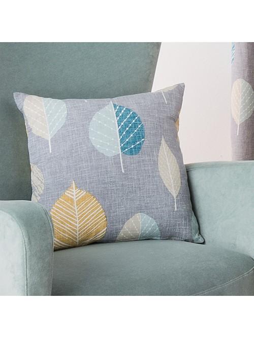 Scandi Leaf Curtain Cushion Teal