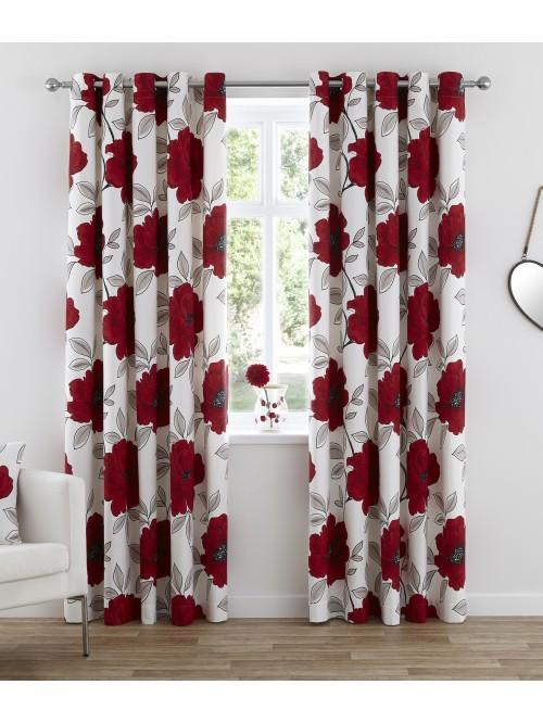 Scarlet Poppy Eyelet Curtains Red