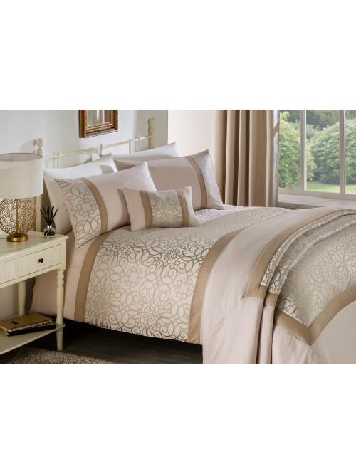 Scroll Jacquard Panel Bedding Collection Cream