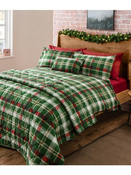 Sherwood Check Flannelette Bedding Collection Green