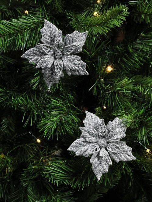 Silver Glitter Poinsettia