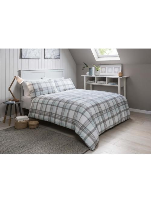 Snowfall Check Flannelette Duvet Set Duck Egg