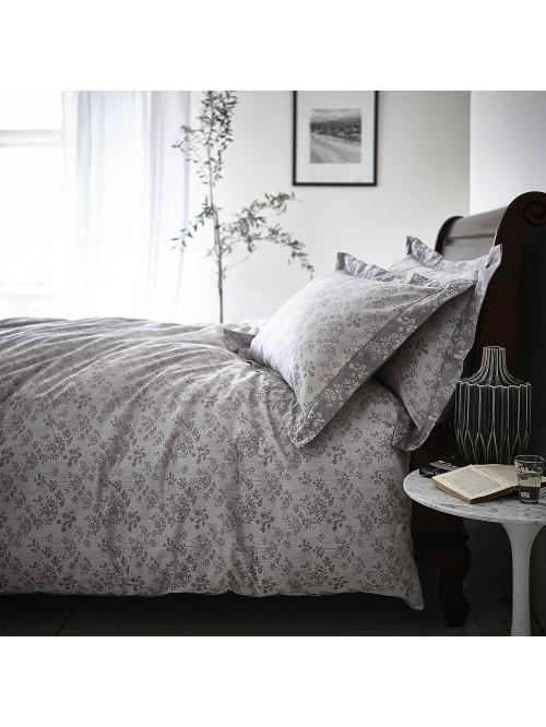 Bianca Sprig Cotton Jacquard Bedding Collection Grey