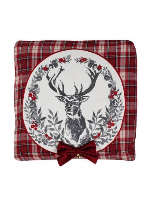 Stag Crest Cushion Red